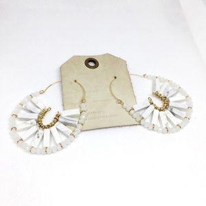 NWT Anthropologie White Stone Hook Earrings